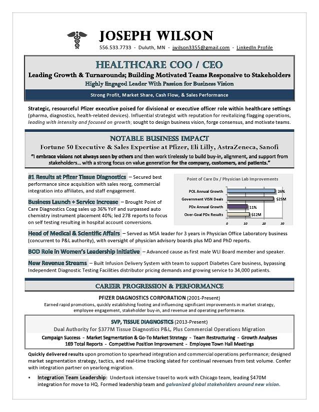 healthcare coo  u0026 ceo resume
